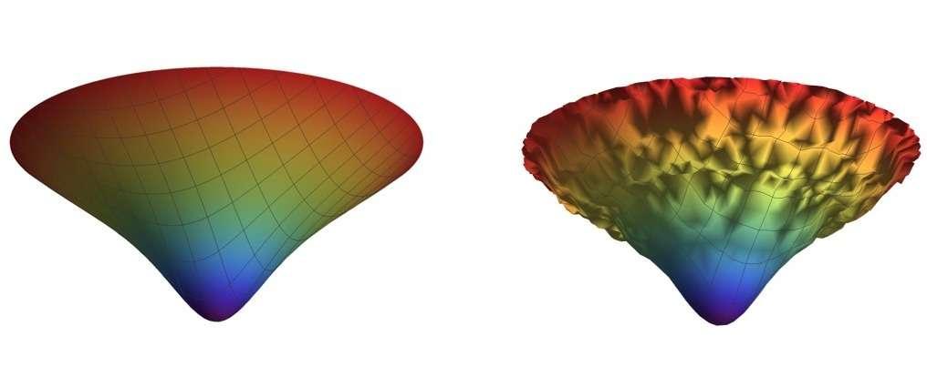 Un modèle en deux dimensions de l'espace-temps proche du Big Bang dans le cadre du modèle de cosmologie quantique de Hartle-Hawking semblait prédire un espace-temps avec un contenu très homogène et lisse au début de son existence. C'est le modèle de gauche. Mais ses prédictions seraient plutôt conformes au modèle de droite, avec des fluctuations de température et de la géométrie de l'espace-temps tellement considérables qu'elles ne ressemblent pas à ce qui est observé. © J.-L. Lehners, Max Planck Institute for Gravitational Physics