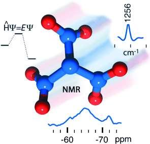 En rouge les atomes d'oxygène et en bleu ceux d'azote. C'est le trinitramide. © John Wiley & Sons.