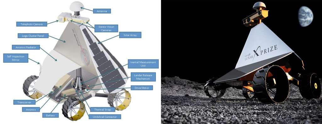 Le rover d'Astrobotic Technology est conçu pour fonctionner sans interruption pendant les périodes diurnes et sera mis en mode hibernation dès la nuit tombée, qui pourrait durer jusqu'à deux semaines. Des performances au-delà des exigences du Google Lunar X Prize. © Astrobotic Technology