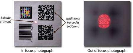 A gauche, des codes à barres traditionnels (traditional barcodes), de 3 centimètres environ comparés au bokode de 3 millimètres. La photographie est prise avec une mise au point correcte (In focus photograph). A droite, une photo avec mise au point à l'infini (Out of focus photograph) visualise le contenu grâce à l'effet bokeh. Selon les chercheurs du Media Lab, l'image est nette de 2,5 microns à plus de quatre mètres. © MediaLab Camera Culture Group