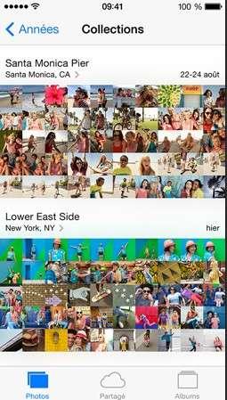 Dans iO7, la nouvelle application photo propose un nouveau mode classement par « moments » qui organise les clichés à l'intérieur des « collections » en tenant compte du lieu et de la date. © Apple