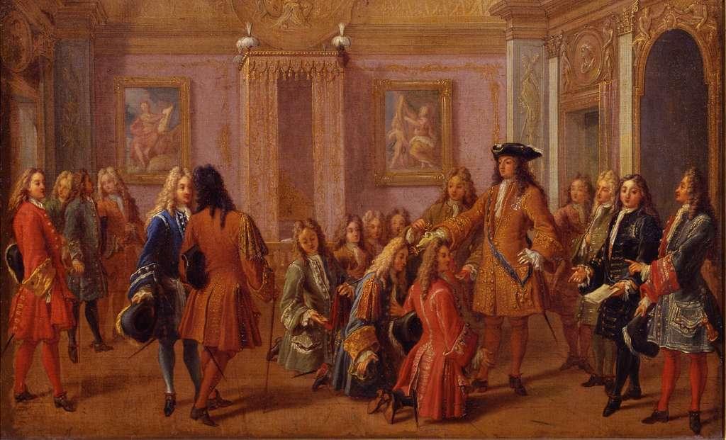 Institution de l'ordre militaire de Saint-Louis par Louis XIV en 1693, audience dans la chambre du roi, par François Marot en 1710. Château de Versailles. © Wikimedia Commons, domaine public