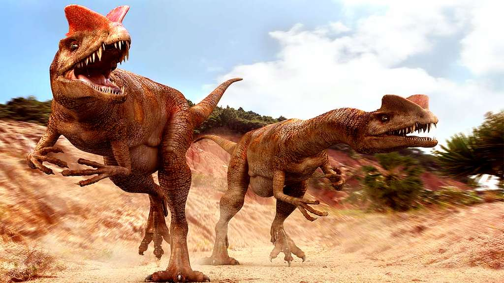 Le dilophosaure ou Dilophosaurus, présent dans le film Jurassic Park