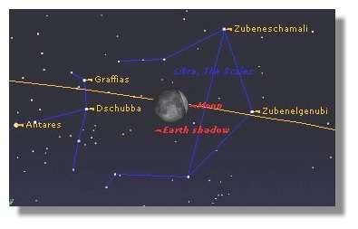 L'éclipse de Lune du 16 Mai 2003, vue à Paris, au moment de l'entrée dans l'ombre de la Terre, à 02h02 UT.La Lune est à environ 15 degrés au-dessus de l'horizon.