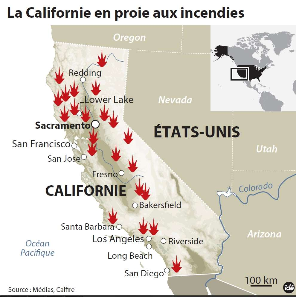 Victime d'une sécheresse exceptionnelle, la Californie connaît depuis le 29 juillet une série d'incendies. Plus de 9.000 pompiers luttent actuellement contre les flammes. © Idé
