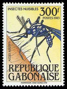 Aedes aegypti, timbre du Gabon Reproduction et utilisation interdites