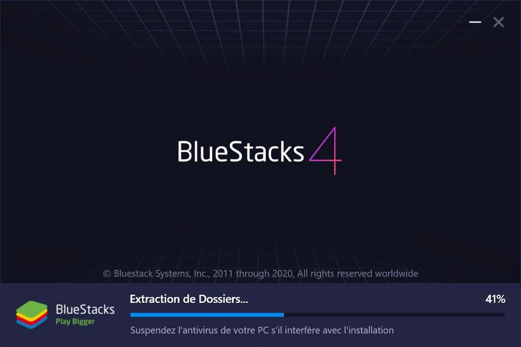 Extraction et installation d'Android. © Bluestacks Systems Inc.