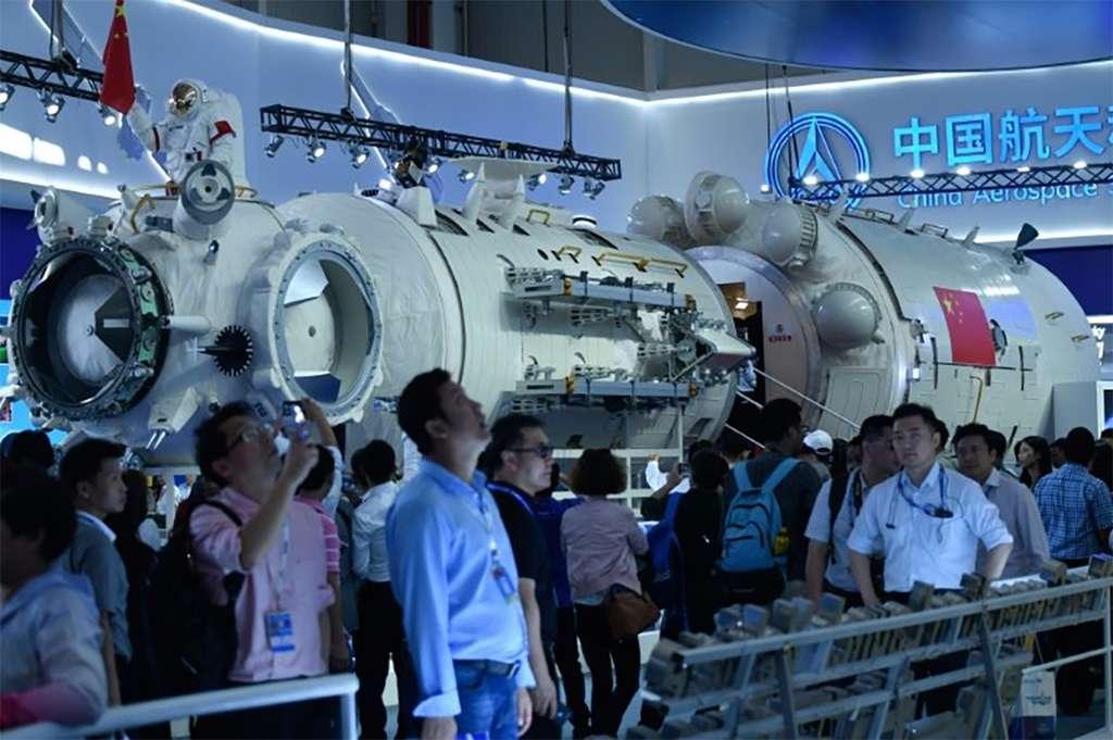 Maquette d'une partie de la station spatiale chinoise. D'une masse de 60 tonnes, elle sera plus petite que l'ISS et ses 400 tonnes !© AFP
