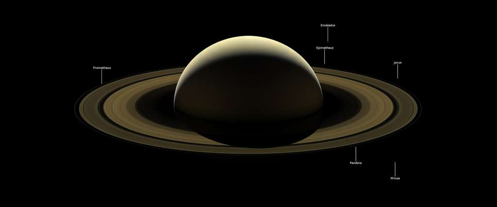 Version annotée du dernier portrait de famille de Saturne capturé par Cassini. © Nasa, JPL-Caltech, Space Science Institute