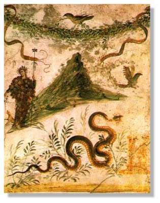 Fresque dans une villa de Pompéi montrant le Vésuve avant l'éruption de 79