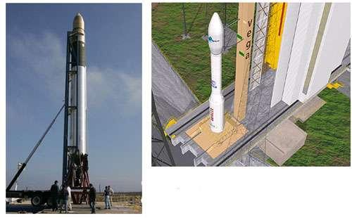 A droite, Fusée Vega sur son pas de tir : les trois premiers étages de ce lanceur sont à propergol solide © ESA A gauche, Lanceur Falcon I à propergol solide © SpaceX