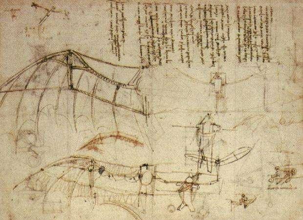 Le concept de l'ornithoptère ne date pas d'hier, puisque Leonardo di ser Piero, dit Leonardo da Vinci, en a esquissé un en 1488. © Wikimedia Commons, DP