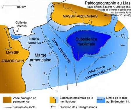 Paléogéographie au Lias. © DR