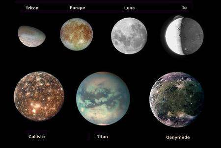 Cliquer pour agrandir. Une comparaison des aspects et des tailles des lunes dans le Système solaire. Crédit : Nasa