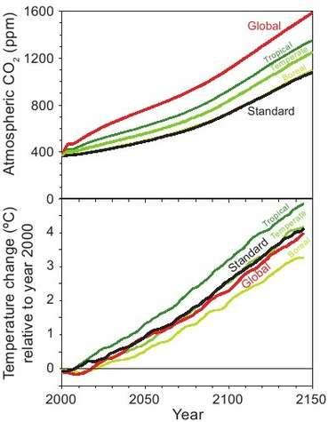 Prédiction de l'évolution du CO2 dans l'atmosphère (en haut) et de la température de surface (en bas) pour la période 2000-2150. Une déforestation globale (en rouge) aurait pour effet de contrebalancer le réchauffement du à l'augmentation de CO2 dans l'atmosphère. Vers 2100, le refroidissement par rapport à une situation standard sans déforestation totale serait ainsi de 0.3 °C. Crédits : PNAS