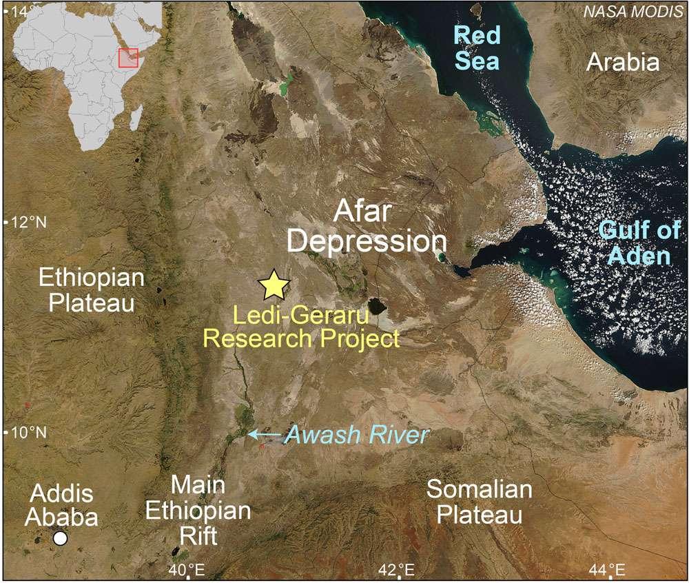La dépression de l'Afar est un haut lieu des géosciences et de la paléoanthropologie. Haroun Tazieff et Yves Coppens y ont fait de célèbres découvertes : le premier rift océanique exondé et Lucy. © Nasa