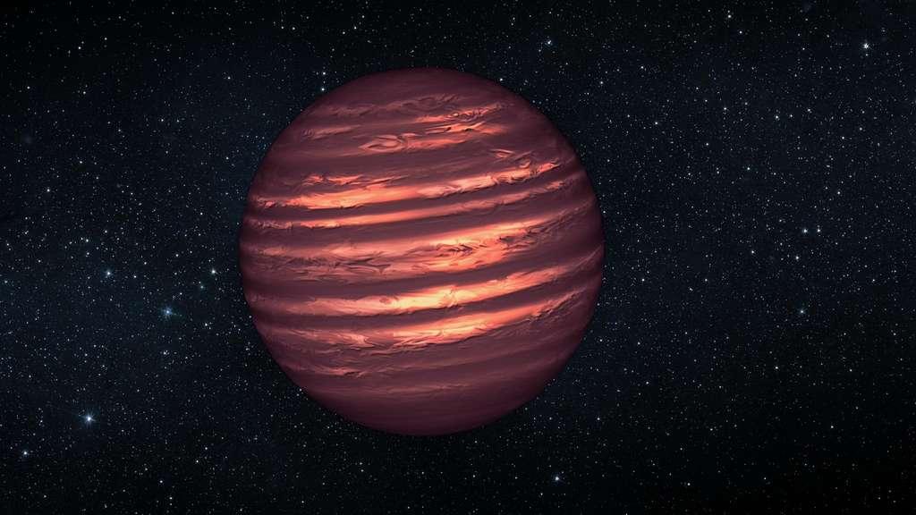 Une vue d'artiste de la naine brune 2MASSJ22282889-431026. Ce n'est pas une planète, même si on pense qu'elle partage des points communs avec des géantes gazeuses comme Jupiter. Elle tourne sur elle-même en 1,4 heure et des nuages de la taille de la Terre circulent sous l'action des vents. © Nasa, JPL-Caltech