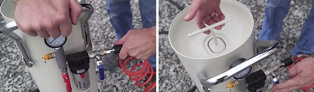 Reconnectez le tuyau d'air du compresseur sur l'entrée de la sableuse. Replacez le bouchon et verrouillez-le, en maintenant la vanne d'admission toujours fermée. © C2m-negoce.com