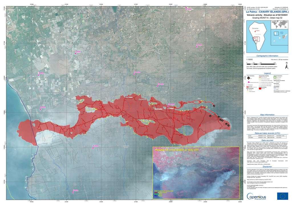 Étendue des coulées de laves du Cumbre Vieja, situation au 2 octobre 2021 © Copernicus Emergency Management Service (© 2021 European Union), [EMSR546] carte de La Palma - Canary Islands