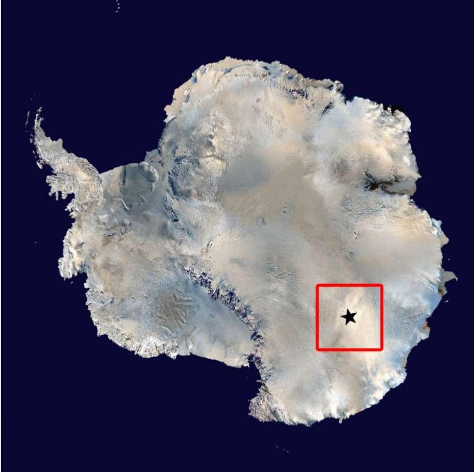 Le continent antarctique et la position de la station scientifique Concordia. Maintenir la station en activité pendant l'hiver polaire nécessite 7 personnes. © Esa, Ipev, PNR