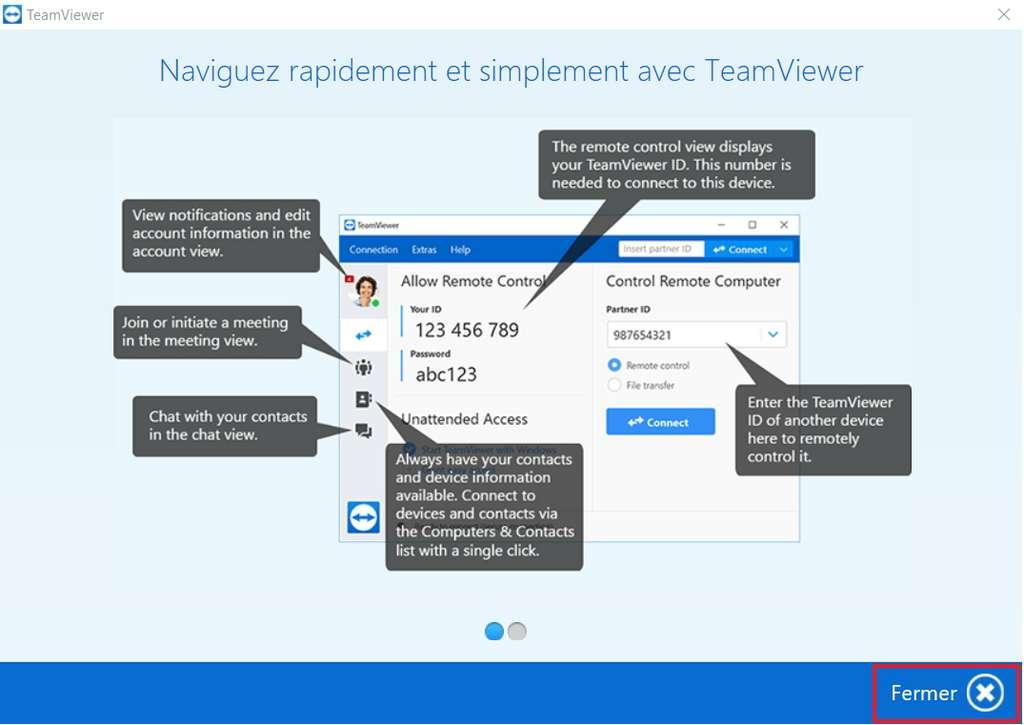 Fermez la page d'aide pour accéder à l'interface. © TeamViewer GmbH