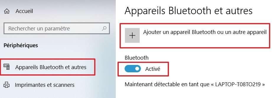 Vérifiez le statut du Bluetooth et cliquez sur « Ajouter un appareil Bluetooth ou un autre appareil ». © Microsoft