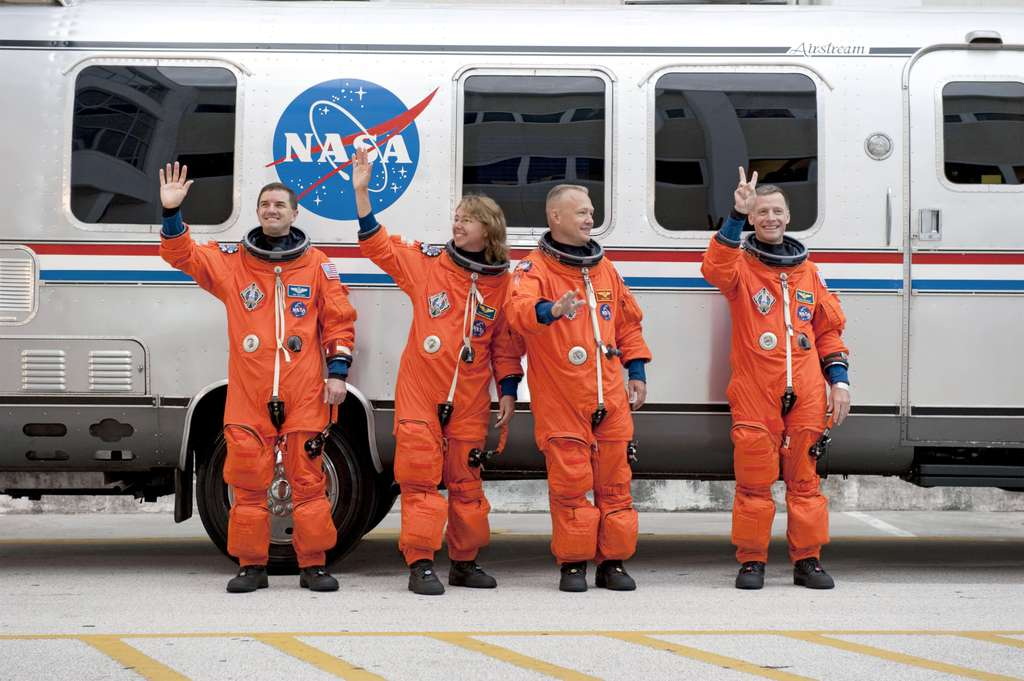 Le dernier équipage américain envoyé dans l'espace à bord d'une navette (Atlantis, STS-135). © Nasa