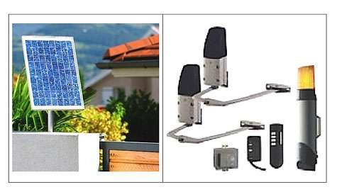 Panneau solaire orientable de 20 W adaptable à trois kits de motorisation pour portails battants ou coulissants. Fixé au moyen d'un support fourni, chaque panneau utilisé recharge en permanence la batterie de 12 V - 6 Ah qui alimente la motorisation. Le kit présenté se compose de gauche à droite : d'une paire de moteurs à bras articulés, d'un transformateur 230/12 V permettant le branchement sur le secteur, de deux télécommandes (l'une de type porte-clés à 2 touches, l'autre programmable à 8 fonctions) et d'une centrale à flash et batterie intégrée qui gère les fonctions. Compatible avec les interphones sans fil et les équipements de protection de la marque. Gamme Solarmatic © Daitem