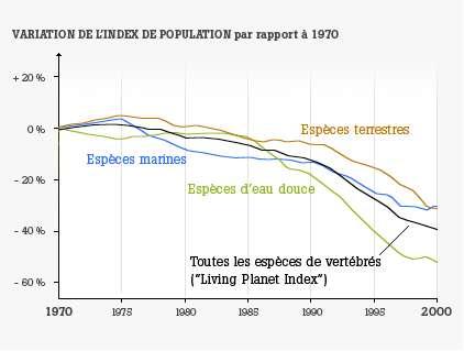 L'indice de population est un indicateur utilisé pour suivre l'état de la biodiversité dans le monde. Il présente ici des tendances, étudiées entre 1970 et 2000, pour des populations de vertébrés terrestres (en orange), d'eau douce (en vert) et marins (en bleu). La tendance générale est indiquée par un trait noir. Les résultats sont sans appel, la biodiversité mondiale s'effondre. © WWF