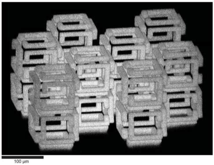Grâce à la fabrication implosive, on peut générer toutes sortes de formes complexes. © Daniel Oran et al, Science, 2018.