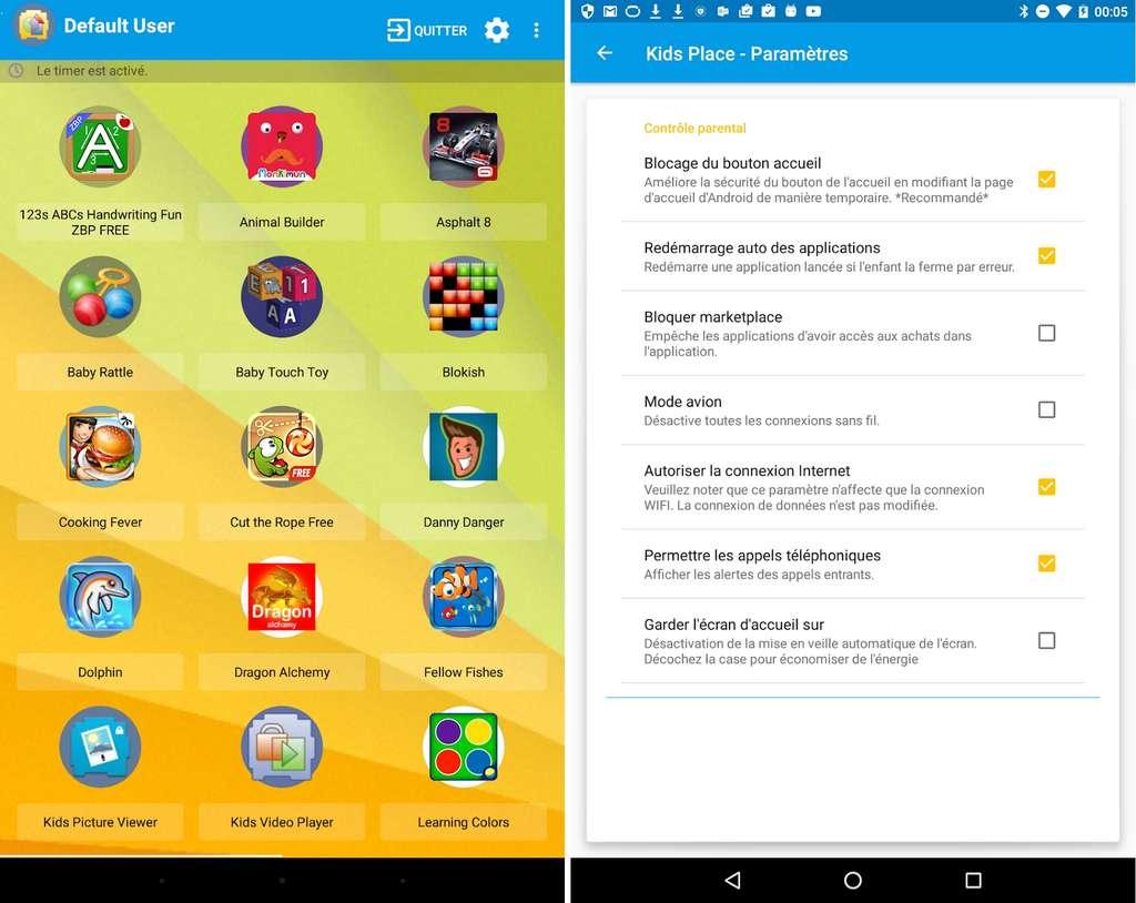 Kids Place est prévue pour donner un accès sécurisé aux enfants au sein d'un périphérique Android appartenant à ses parents © Kiddoware