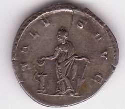 Postume sur les pièces de monnaie, IIème ap. JC. Cette pièce est en argent.