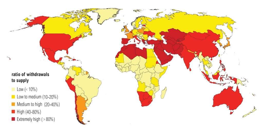 Selon les Nations Unies, près de 3 milliards de personnes devraient avoir à faire face à un stress hydrique d'ici 2025. Cette carte, éditée par le World Resources Institute, montre les projections de stress hydrique pour la planète en 2040 (en rouge foncé, les zones subissant le stress le plus important). © WRI