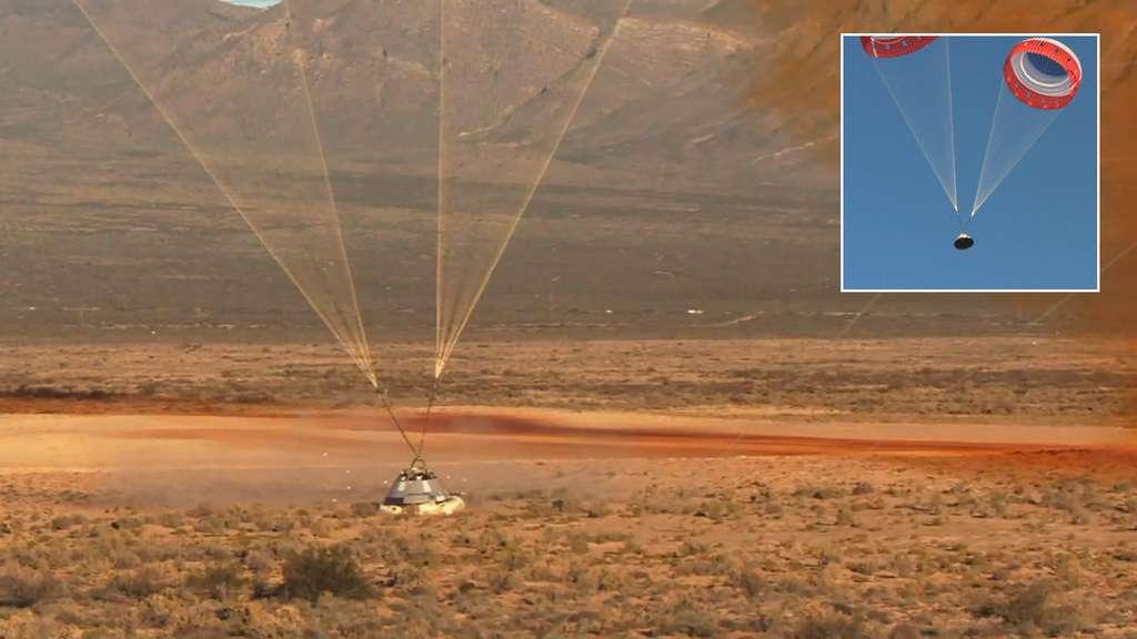 Succès de l'essai du système d'abandon de lancement du Starliner mais seulement deux des trois parachutes de la capsule se sont déployés. © Boeing, Nasa JSC