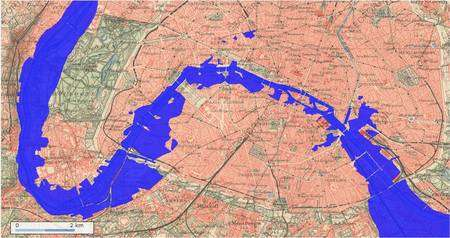 La crue de 1910 sur une carte d'époque centrée sur Paris. En amont (en bas à droite), du côté d'Issy-les-Moulineaux (en bas à gauche) et à l'ouest du bois de Boulogne (en haut à gauche), l'eau se fait envahissante. Retrouvez cette image sur le site de Géoportail ou cliquez sur l'image pour la retrouver sur Géoportail. L'outil permet de superposer cette image de la Seine sur différents fonds de carte. © Géoportail / IGN