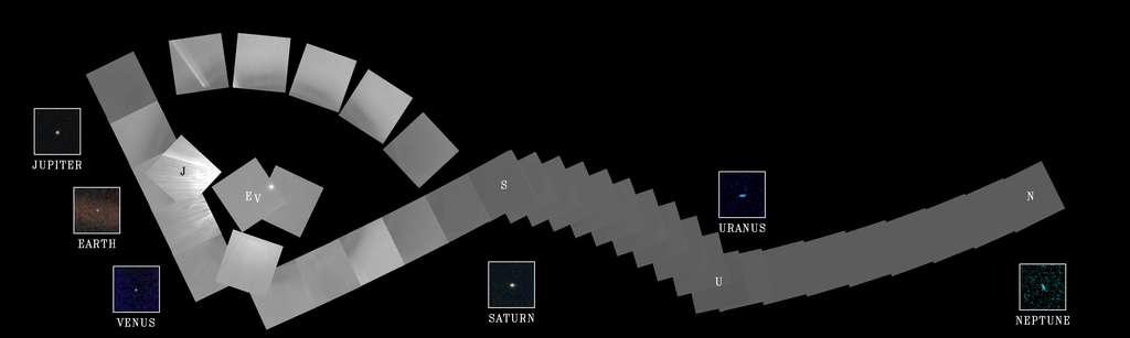 Presque toutes les planètes du Système solaire figurent sur cette vue d'ensemble, la première jamais réalisée. Les images qui composent ce « portrait de famille du Système solaire » ont été prises par Voyager 1 le 14 février 1990 à plus de 6,4 milliards de kilomètres de la Terre. Notre planète a alors été surnommée par Carl Sagan pale blue dot, et c'est en effet, vue d'aussi loin, un petit point mesurant 0,12 pixel. Plusieurs d'entre nous étaient sur cette photo quand elle a été prise, l'une des plus célèbres de la mission et aussi la dernière. © Nasa, JPL-Caltech