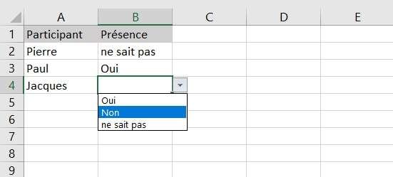 Faites un copier/coller de la cellule contenant le menu déroulant autant de fois que nécessaire ! © Microsoft