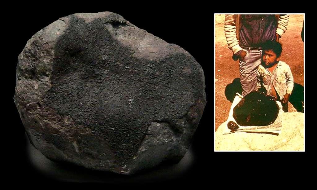 Après s'être brisée en milliers de fragments dans l'atmosphère, la météorite Allende s'est disséminée dans tout le Chihuahua, au Mexique, en 1969. Elle contient certains des plus anciens minéraux formés dans le Système solaire. © Brian Mason, Smithsonian Institution