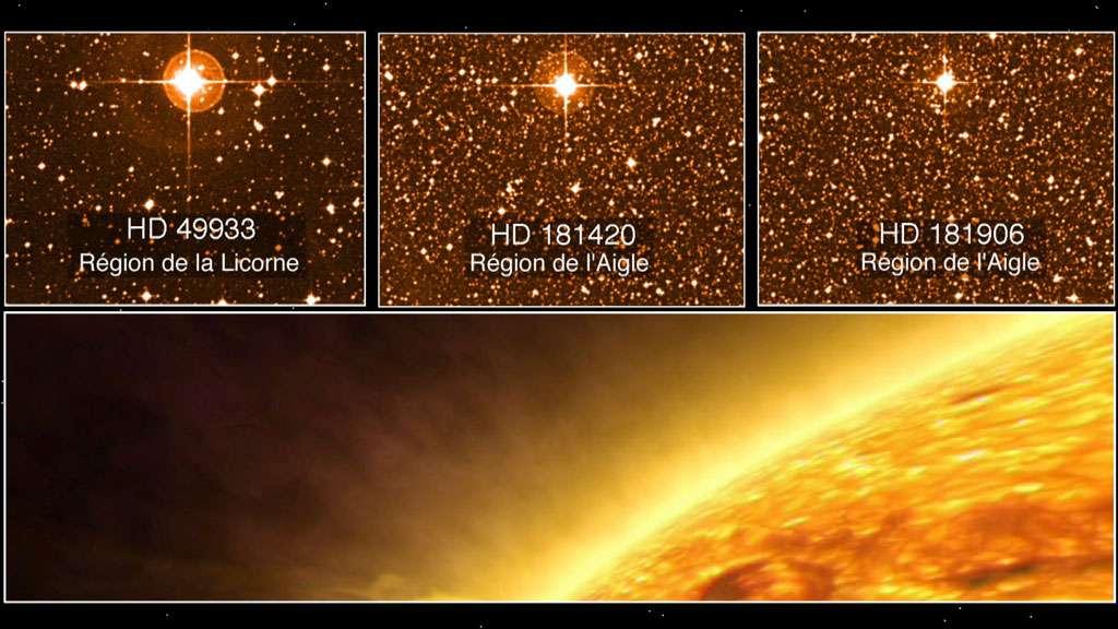 Trois étoiles observées par la sonde CoRoT