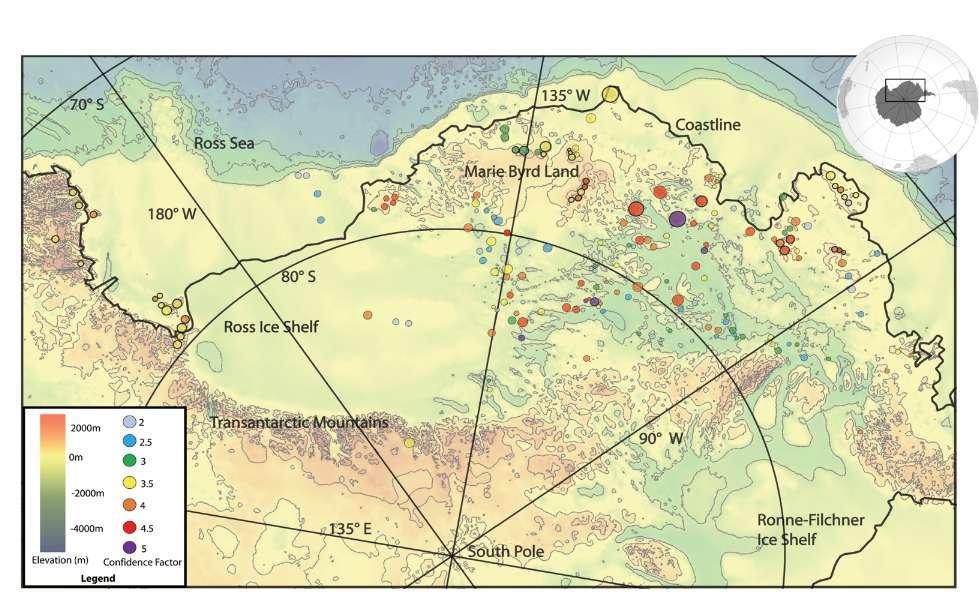 La carte des volcans nouvellement découverts, indiqués par des cercles colorés. Le tracé noir représente la côte et les couleurs l'altitude, ou la profondeur. Les couleurs des cercles indiquent le degré de confiance dans l'existence du volcan considéré, sur une échelle de 2 à 5. © Maximillian van Wyk de Vries et al., Geological Society of London