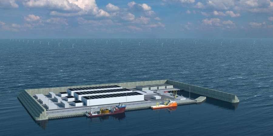 Maquette du futur pôle énergétique danois qui fournira en électricité renouvelable plusieurs pays de l'Union européenne. © Agence danoise de l'énergie