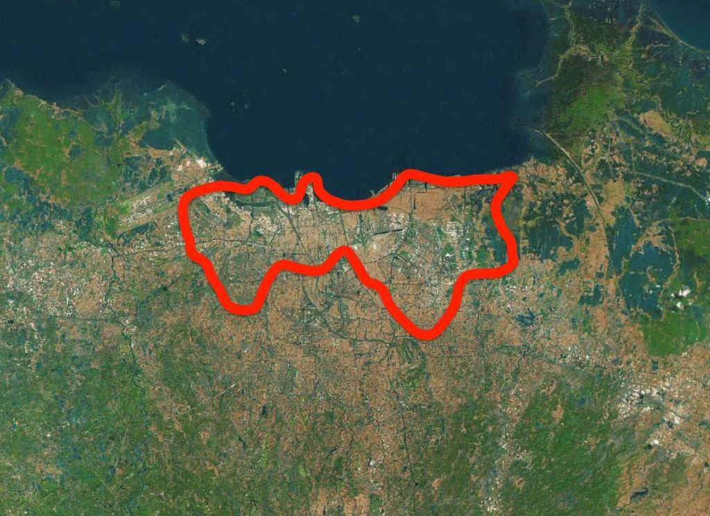 Au nord de Jakarta (zone en rouge), le sol s'est déjà affaissé de deux à cinq mètres. © Plans, C.D, Futura