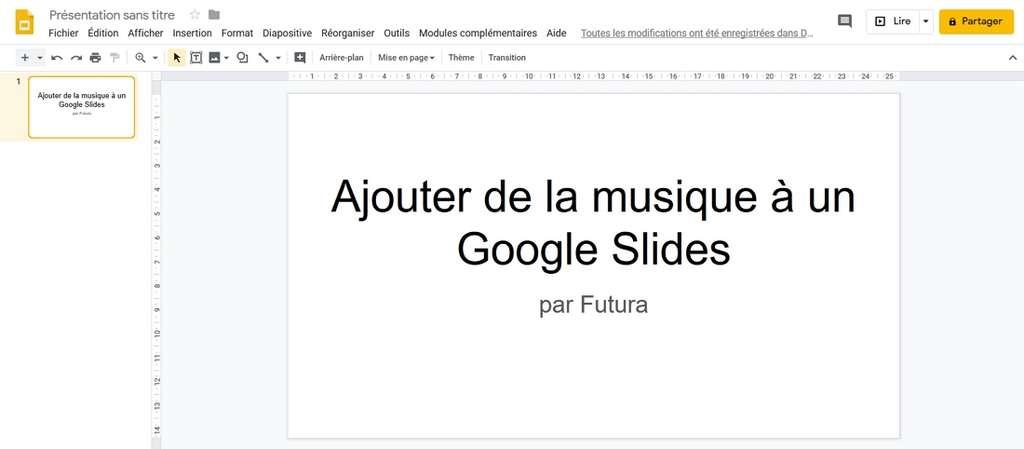 Allez sur la diapositive sur laquelle vous voulez ajouter un morceau. © Google Inc.