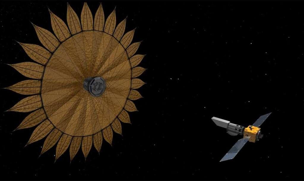 Concept à l'étude pour la mission Habex avec son gigantesque starshield pour bloquer la lumière parasite des étoiles. © Nasa, JPL