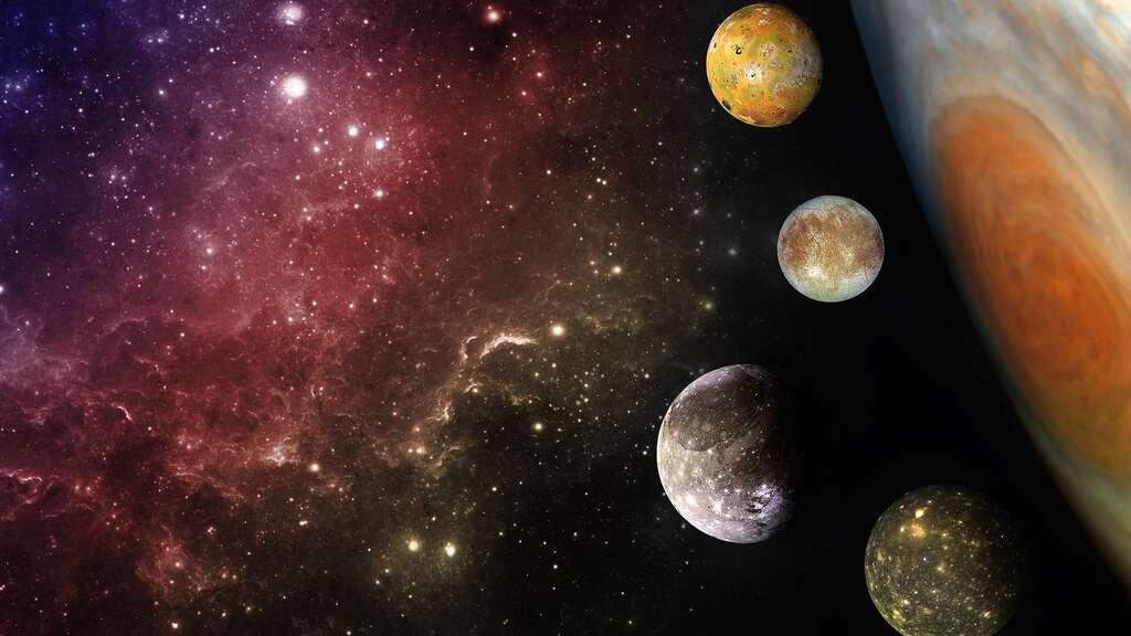 Les quatre lunes galiléennes de Jupiter