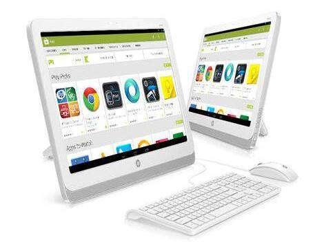 Vendu 300 euros, le HP Slate 21 AIO ressemble fortement à un ordinateur de bureau de 21,5 pouces. Avec son écran tactile et son système d'exploitation Android, l'engin est plutôt une tablette de grande taille à laquelle on a connecté un clavier et une souris. © HP