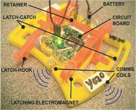 Ceci est un robot ! La puce électronique, au centre, perçoit la proximité de voisins éventuels par un contact radio et peut lever ou baisser un grappin, de couleur orange.