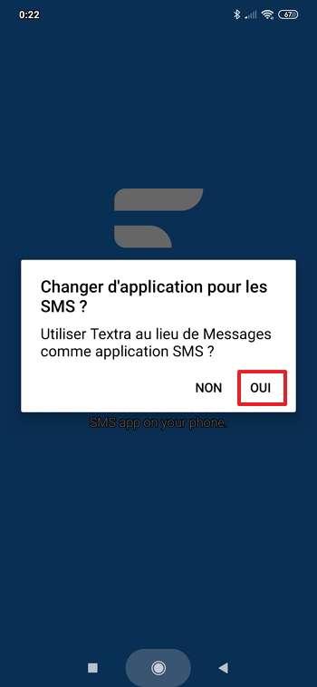 Définissez Textra comme application SMS par défaut. © Delicious Inc.