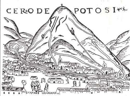 Gravure de Cieza de León montant le Potosi de la fin des années 1540, la première connue et publiée en 1553. Fonds de l'Archivo y Biblioteca Nacionales de Bolivia. © Alain Gioda / IRD, avec l'autorisation de l'ABNB. - Reproduction et utilisation interdites