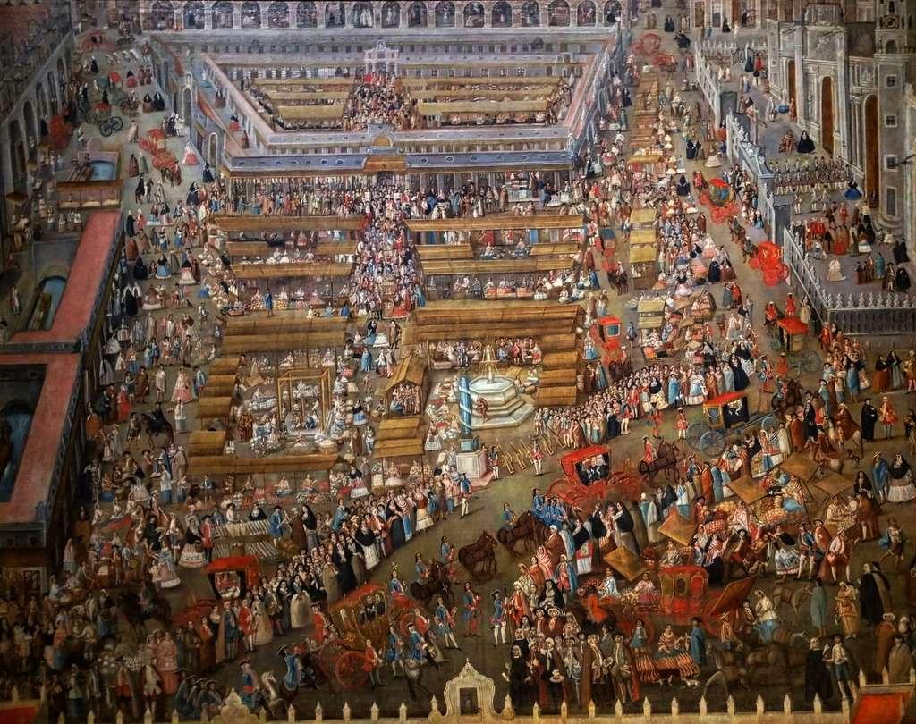 Place principale de Mexico, par Diego Garcia Conde en 1765. Musée national d'Histoire du Mexique, Mexico. © Wikimedia Commons, domaine public.